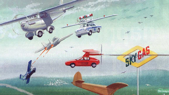 Illustration of flying cars - Future Shock. The year is 2021 and Oil is at $150